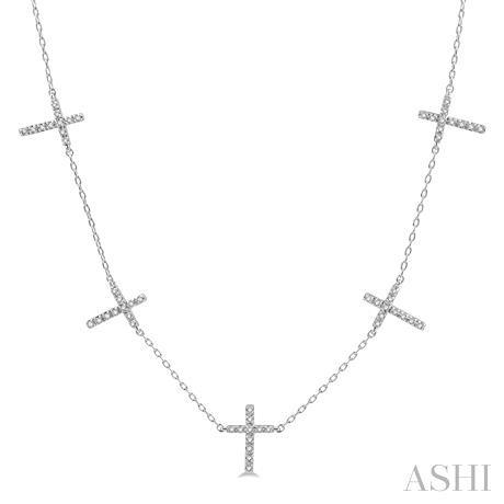 Diamond Cross Station Necklace