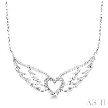 Diamond Angel Wings Heart Necklace