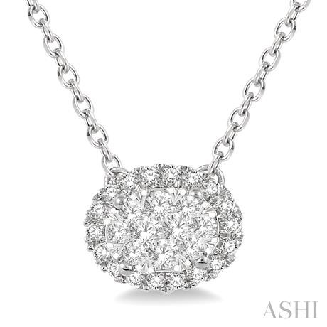 Oval Shape Lovebright Diamond Necklace