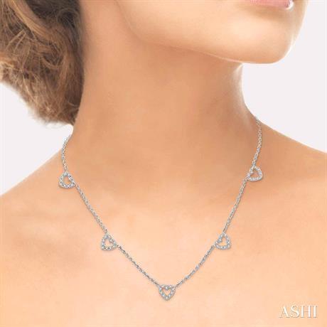 Heart Shape Diamond Station Necklace