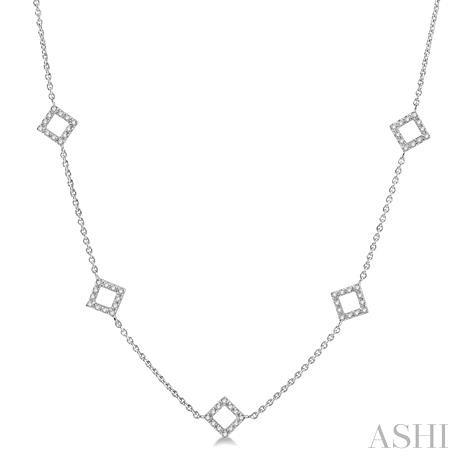 Square Shape Diamond Station Necklace